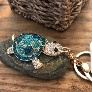 Crystal Rhinestone Turtle Clasp Keychain Gold Tone